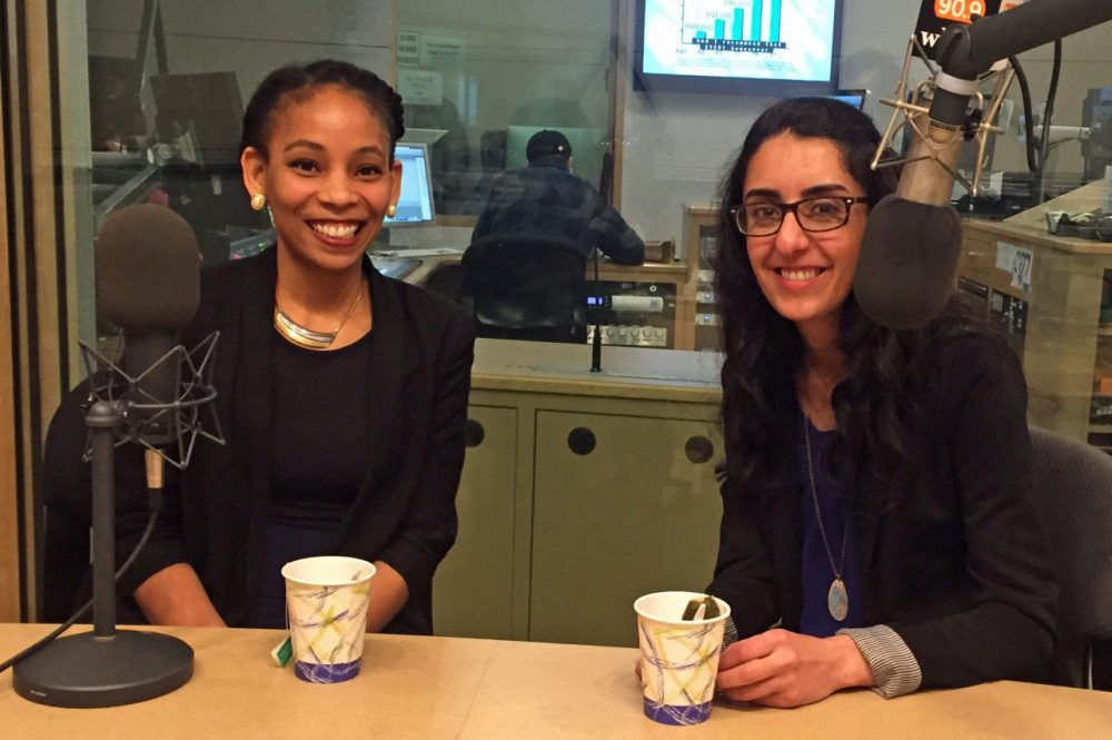 Phoenicia Lewis (left) and Wafaa Arbash are pictured in the studio. (Karyn Miller-Medzon/Here & Now)