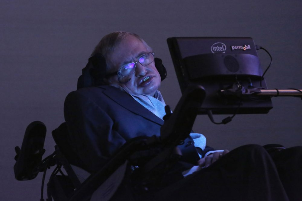 Theoretical Physicist Professor Stephen Hawking sits on stage ahead of the announcement of the Stephen Hawking medal for science, 'Starmus' on December 16, 2015 in London, England. The new award for science communication is in honour of Professor Stephen Hawking and recognises the work of those helping to promote public awareness of science through music, arts and cinema.  (Dan Kitwood/Getty Images)
