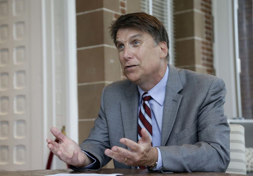 North Carolina Gov. Pat McCrory makes remarks during an interview at the Governor's mansion in Raleigh, N.C., Tuesday, April 12, 2016. McCrory says he wants to change a new state law that prevents people from suing over discrimination in state court, but he's not challenging a measure regarding bathroom access for transgender people. (Gerry Broome/AP)