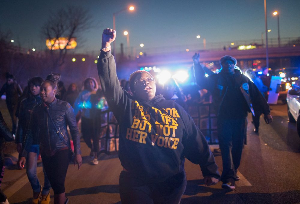 Demonstrators protesting the shooting death of 16-year-old Pierre Loury block traffic on the Eisenhower Expressway during a march on April 12, 2016 in Chicago, Illinois. (Scott Olson/Getty)