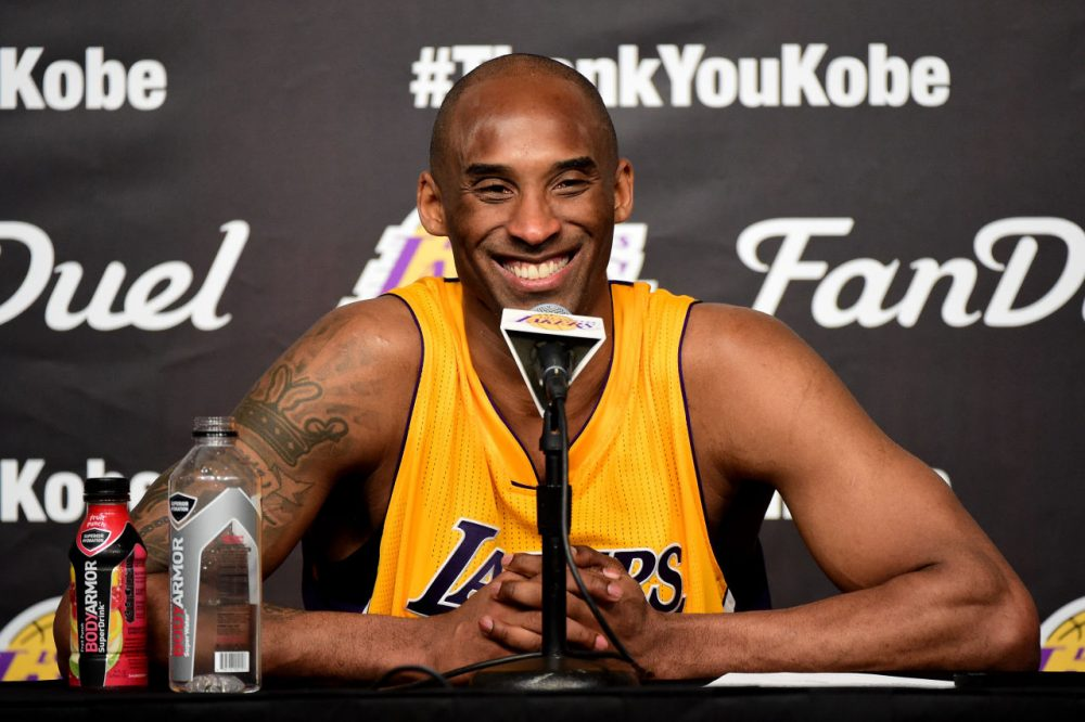 Kobe Bryant #24 of the Los Angeles Lakers address the media during the post game news conference after scoring 60 point in his final NBA game at Staples Center on April 13, 2016 in Los Angeles, California. (Harry How/Getty Images)