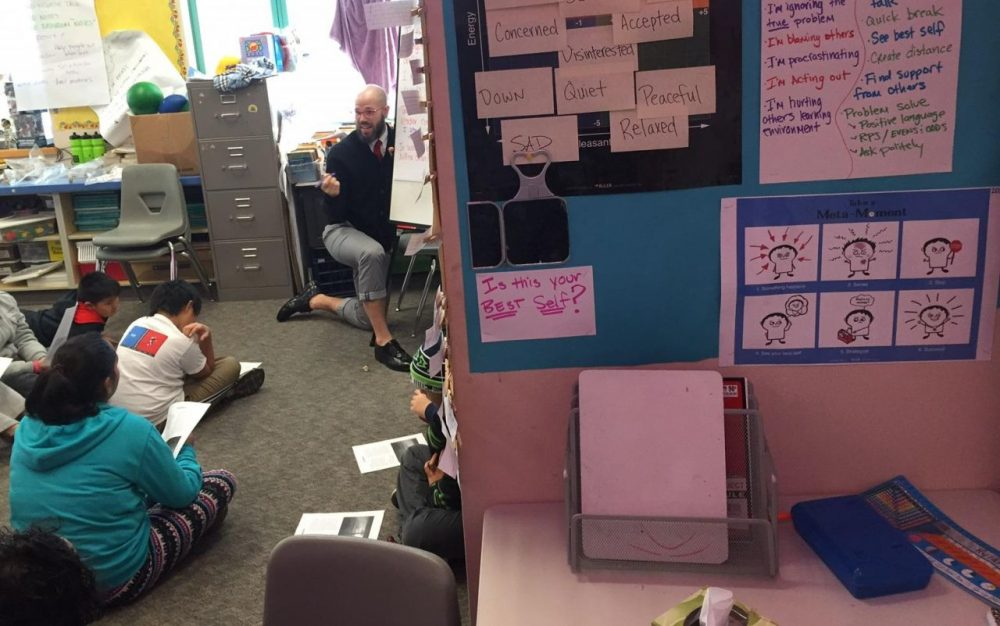 In fifth-grade teacher Ryan Schaedig's class, students take time out for self-reflection in this corner. (Ann Dornfield/KUOW)