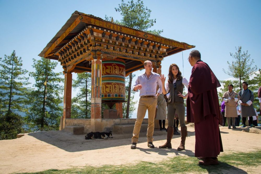 Prince William, Duke of Cambridge and Catherine, Duchess of Cambridge, chat to a monk on the trek up to Tiger's Nest during a visit to Bhutan on the April 15, 2016 in Thimphu, Bhutan. The royal couple are visiting Bhutan as part of a week-long visit to India and Bhutan that has taken in cities such as Mumbai, Delhi, Kaziranga, Bhutan and Agra.  (Dominic Lipinski/Getty Images)