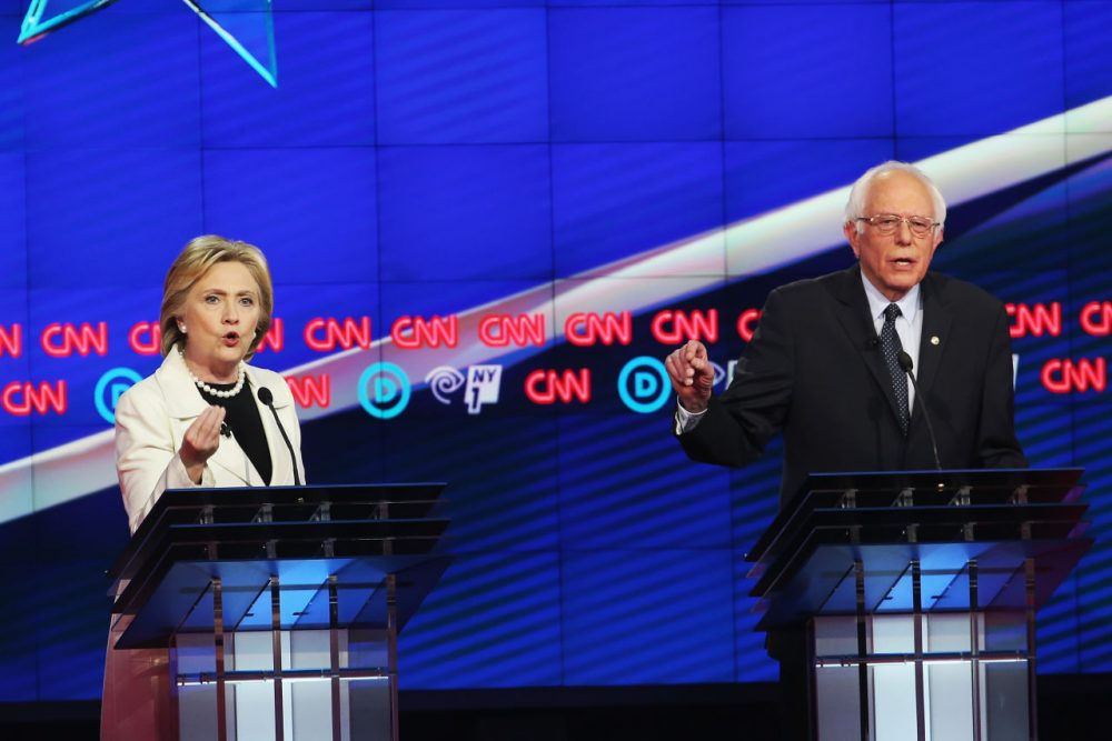 Democratic Presidential candidates Hillary Clinton and Sen. Bernie Sanders (D-VT) debate during the CNN Democratic presidential primary debate at the Duggal Greenhouse in the Brooklyn Navy Yard on April 14, 2016 in New York City. The candidates are debating ahead of the New York primary to be held April 19.  (Justin Sullivan/Getty Images)
