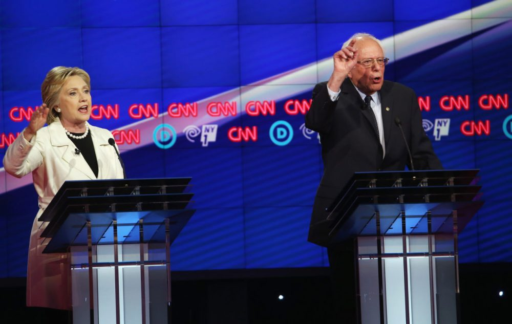 Democratic Presidential candidates Hillary Clinton and Sen. Bernie Sanders (D-VT) debate during the CNN Democratic Presidential Primary Debate at the Duggal Greenhouse in the Brooklyn Navy Yard on April 14, 2016 in New York City. The candidates debated ahead of the New York primary to be held April 19.  (Justin Sullivan/Getty Images)