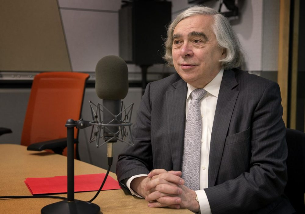 U.S. Secretary of Energy Ernest Moniz is pictured at the Here & Now studios. (Robin Lubbock/WBUR)
