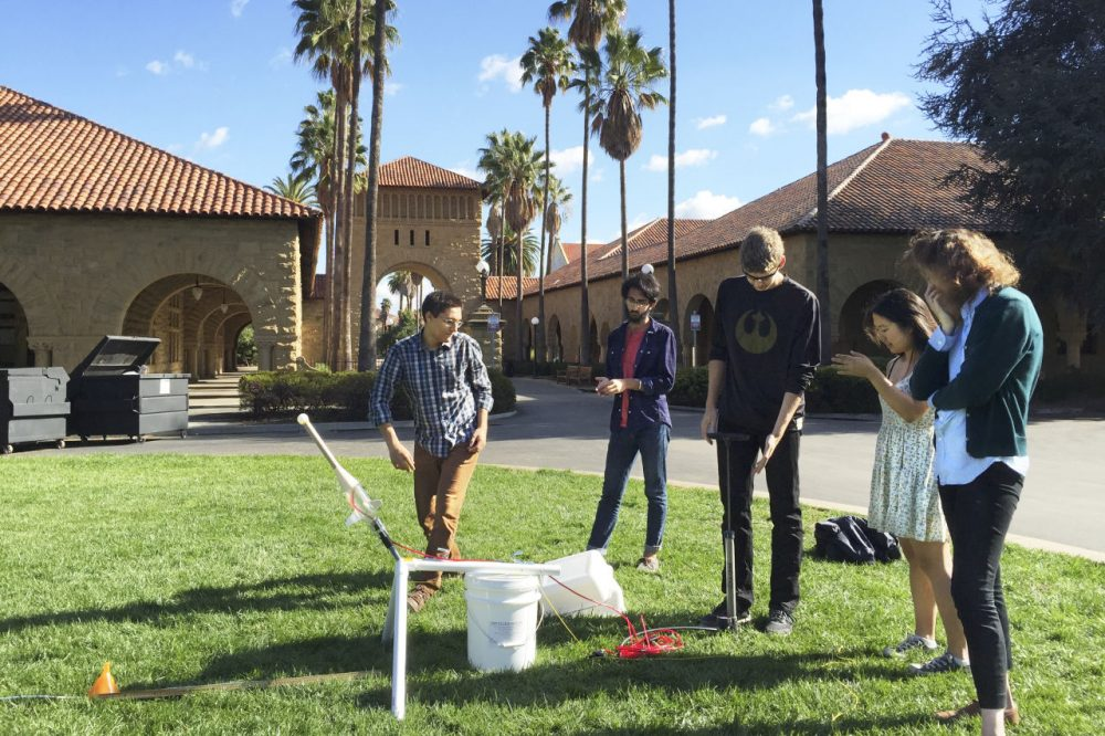 Students prepare a rocket launch for a science class on the campus of Stanford University in Palo Alto, California. (Eric Westervelt/NPR)
