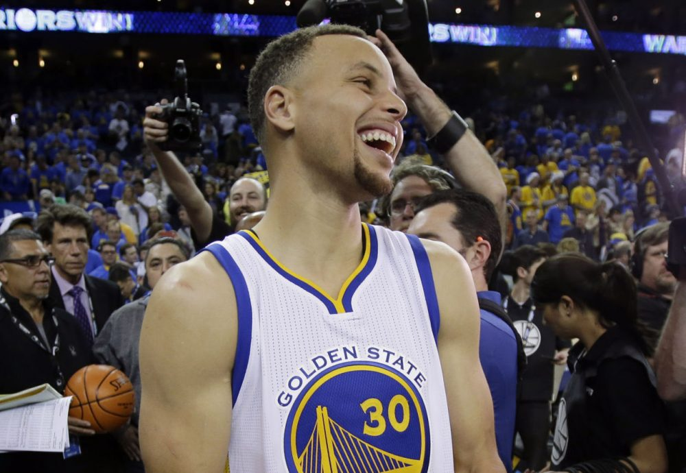 Steph Curry and the Golden State Warriors had plenty to celebrate Wednesday after they won an NBA-record 73 games. Did Charlie stay up to watch the historic win? (Marcio Jose Sanchez)