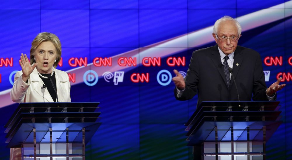 After months of civility on the campaign trail, the gloves have come off of Clinton, Sanders -- and their supporters. In this photo, the candidates are pictured at the CNN Democratic Presidential Primary Debate at the Brooklyn Navy Yard Thursday, April 14, 2016, New York. (Seth Wenig/AP)