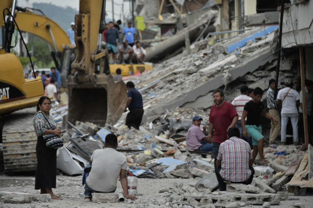Picture taken in one of Ecuador's worst-hit towns, Pedernales, a day after a 7.8-magnitude quake hit the country, on April 17, 2016. Rescuers in Ecuador raced to dig out victims trapped under the rubble of homes and hotels on Sunday after a powerful 7.8-magnitude earthquake killed at least 246. (Rodrigo Buendia/AFP/Getty Images)