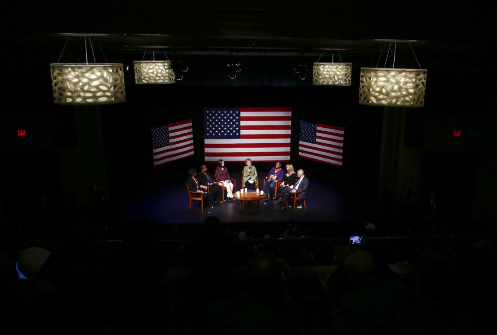 """Democratic presidential candidate Hillary Clinton speaks during a """"Meeting Discussion on Gun Violence Prevention"""" at Landmark Theater in Port Washington, New York on April 11,2016. / (Kena Betancur/AFP/Getty Images)"""