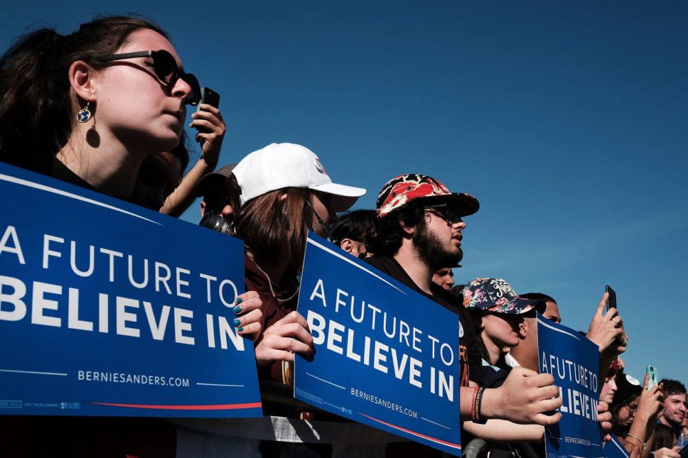 Throngs of supporters listen as Democratic presidential candidate Bernie Sanders speaks at Prospect Park in Brooklyn on April 17, 2016. (Spencer Platt/Getty Images)