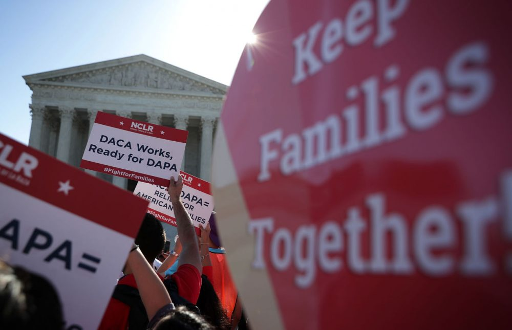Pro-immigration activists gather in front of the U.S. Supreme Court on April 18, 2016 in Washington, DC. The Supreme Court is scheduled to hear oral arguments in the case of United States v. Texas, which is challenging President Obama's 2014 executive actions on immigration - the Deferred Action for Childhood Arrivals (DACA) and Deferred Action for Parents of Americans and Lawful Permanent Residents (DAPA) programs. (Alex Wong/Getty Images)