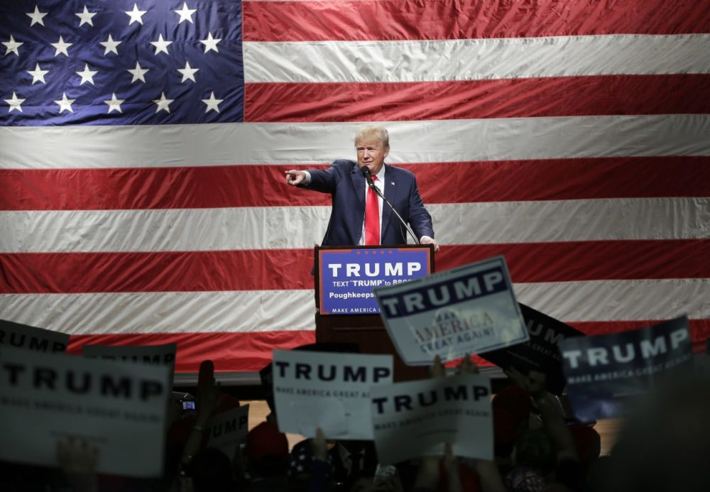 Donald Trump speaks at a campaign event Sunday in Poughkeepsie, N.Y. (Frank Franklin II/AP)