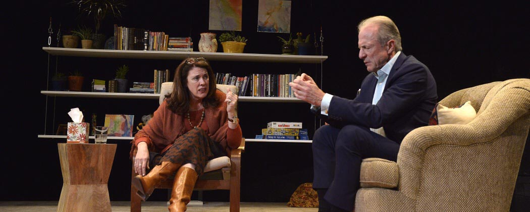 """Maureen Keiller and Will Lyman in the Israeli Stage production of """"Oh God."""" (Courtesy Paul Marotta)"""