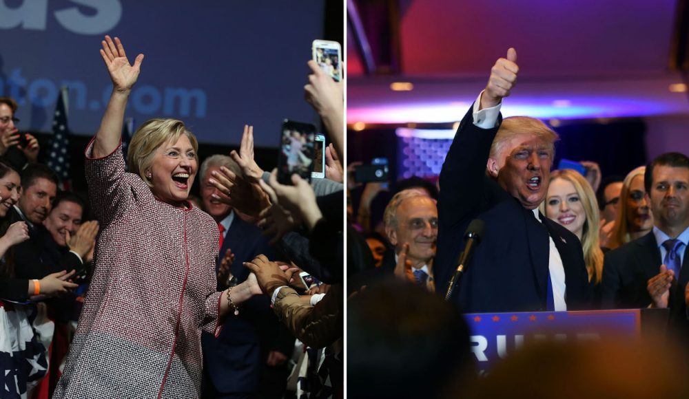Democrat Hillary Clinton and Republican Donald Trump celebrate their primary wins in New York on April 19, 2016. (Justin Sullivan, Jewel Samad/Getty Images)