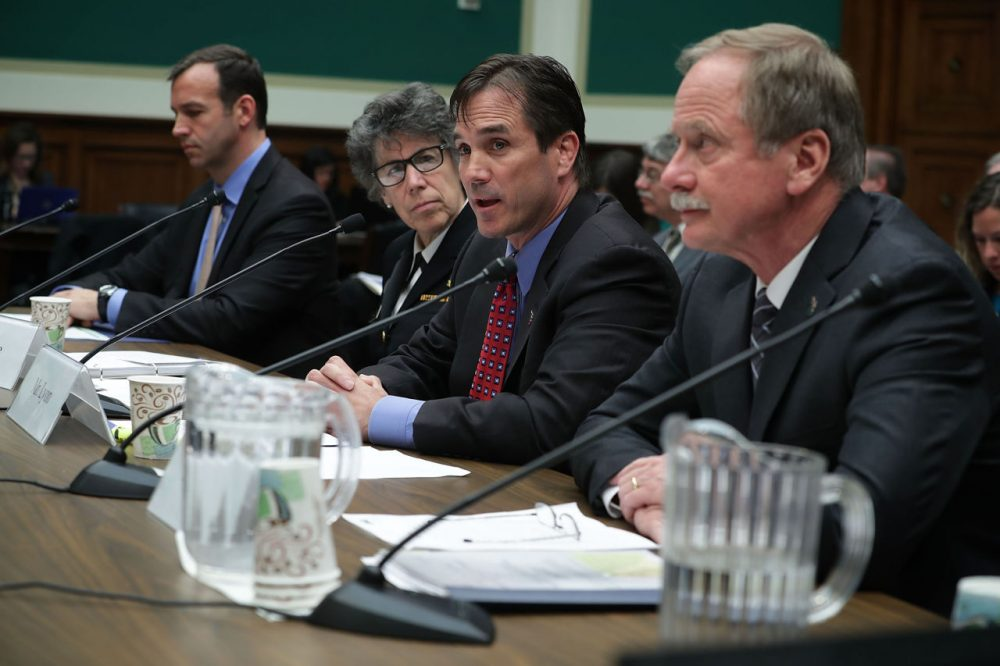 """(L-R) Deputy assistant administrator in the EPA Office of Water Joel Beauvais, Assistant HHS Secretary for Preparedness and Response Nicole Lurie, director of the Michigan Department of Health and Human Services Nick Lyon, and director of the Michigan Department of Environmental Quality Keith Creagh testify during a hearing before the Environment and the Economy Subcommittee and Health Subcommittee of the House Energy and Commerce Committee April 13, 2016 on Capitol Hill in Washington, DC. The subcommittees held a hearing on """"Flint Water Crisis: Impacts and Lessons Learned.""""  (Alex Wong/Getty Images)"""