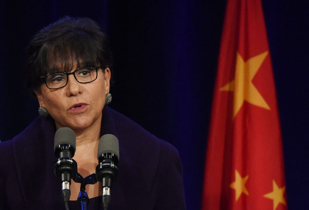 U.S. Commerce Secretary Penny Pritzker speaks during the welcoming banquet for Chinese President Xi Jinping at the start of his visit to the United States, at the Westin Hotel in Seattle, Washington on September 22, 2015. (Mark Ralston/AFP/Getty Images)
