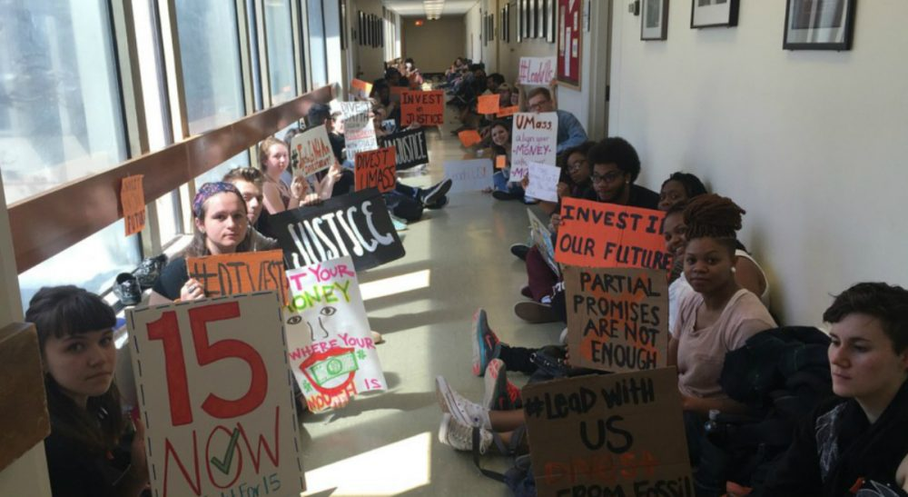 Frederick Hewett: The students at UMass remind us that sustaining our democracy requires active participation. (UMass Fossil Fuel Divestment Campaign/Facebook)
