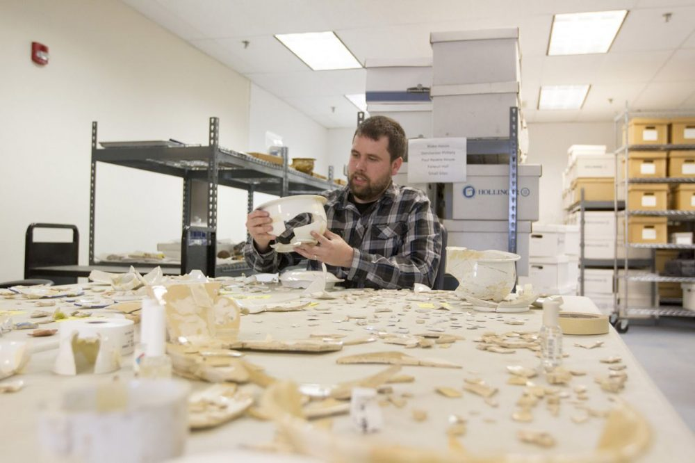 Joe Bagley, Boston's archaeologist, at the city's archaeology lab. (Joe Difazio/WBUR)