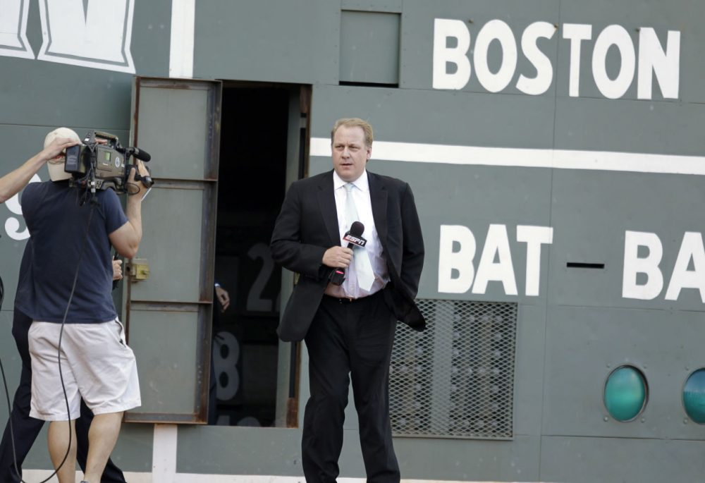 ESPN baseball analyst, former Boston Red Sox pitcher Curt Schilling, on the field at Fenway Park before the opening game of the baseball season between the Boston Red Sox and New York Yankees Sunday, April 4, 2010, in Boston. (Charles Krupa/AP)
