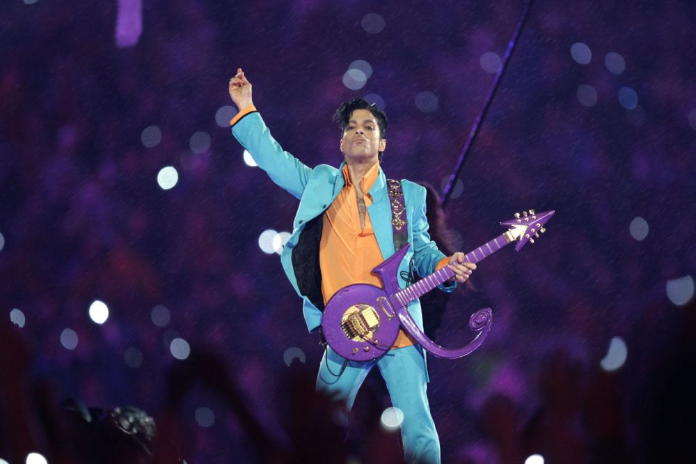 Prince performs during the halftime show at the Super Bowl XLI football game at Dolphin Stadium in Miami in 2007. (Chris O'Meara/AP)