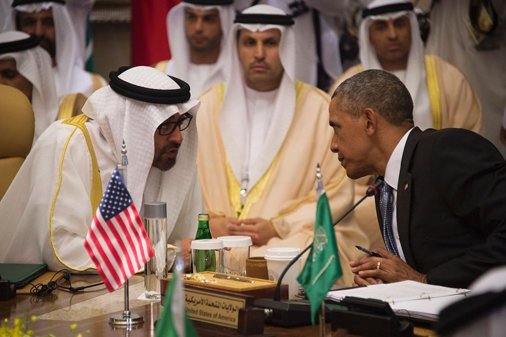 US President Barack Obama (R) speaks with Sheikh Mohammed bin Zayed al-Nahyan (L), Crown Prince of Abu Dhabi, during the US-Gulf Cooperation Council Summit in Riyadh, on April 21, 2016. Obama met Gulf leaders in Saudi Arabia to push for an intensified campaign against the Islamic State group, despite strains in Gulf ties with Washington. (JIM WATSON/AFP/Getty Images)
