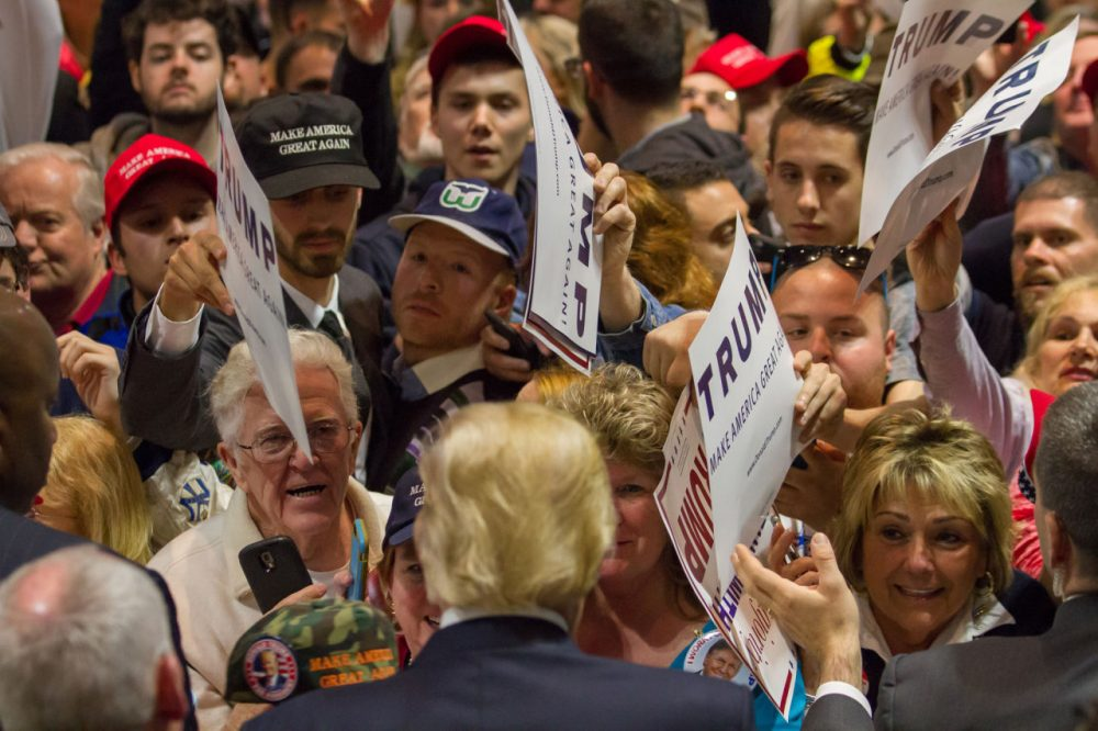 Republican presidential candidate Donald Trump greets supporters after speaking at a rally at the Connecticut Convention Center on April 15, 2016 in Hartford, Connecticut. The 2016 Connecticut Republican Primary is scheduled for April 26, 2016. (Matthew Cavanaugh/Getty Images)