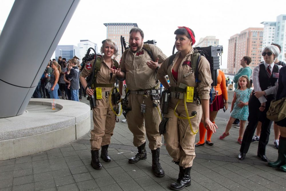 Many fans were dressed up as their favorite video game, comic book and movie characters, like these ghostbusters.  (Joe Difazio for WBUR)