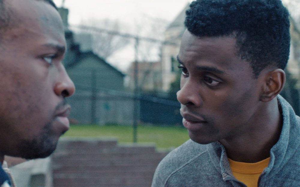 "Actors Devante Lawrence (left) and Andre Ozim are pictured in a still from the 12-minute film ""Jahar,"" written by Henry Hayes and Zolan Kanno-Youngs, who both had been high school classmates of Dzhokhar Tsarnaev at Cambridge Rindge and Latin School in Cambridge, Mass. The film premiered Saturday, April 16, 2016, at the Tribeca Film Festival in New York. (Leo Purman)"