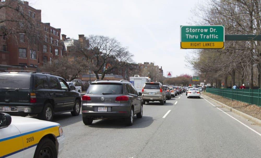 Traffic on Storrow Drive. (Joe Difazio for WBUR)
