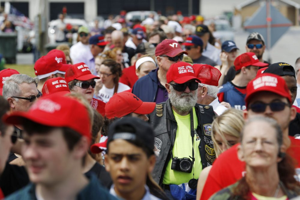 Supporters of Republican presidential candidate Donald Trump line up prior to a rally, Friday, April 22, 2016, at the Delaware State Fairgrounds in Harrington, Del. (Julio Cortez/AP)