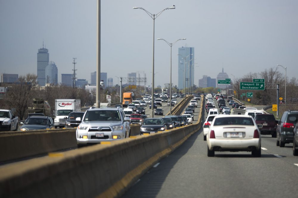 Traffic is a big problem in the area, and is getting worse, our poll finds. Here is a familiar sight for anyone who drives on the Southeast Expressway. (Jesse Costa/WBUR)