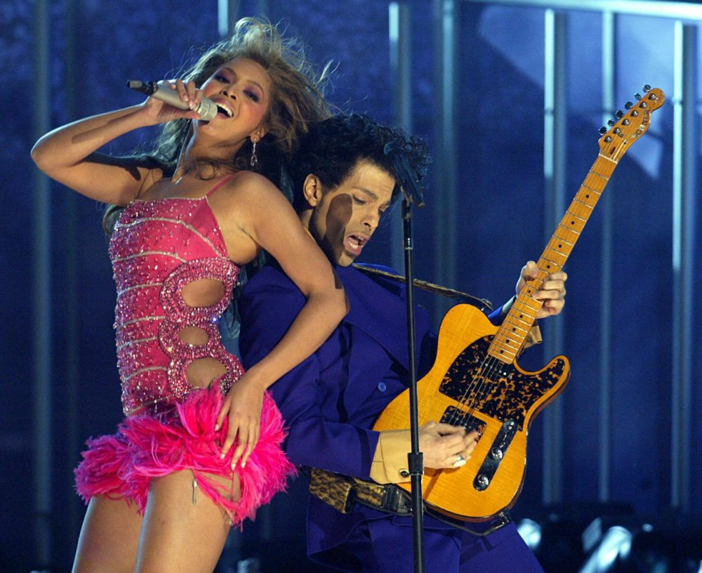 Prince (right) and Beyonce perform the opening act of the 46th Annual Grammy Awards at the Staples Center in Los Angeles on February 8, 2004. (Timothy A. Clary/AFP/Getty Images)