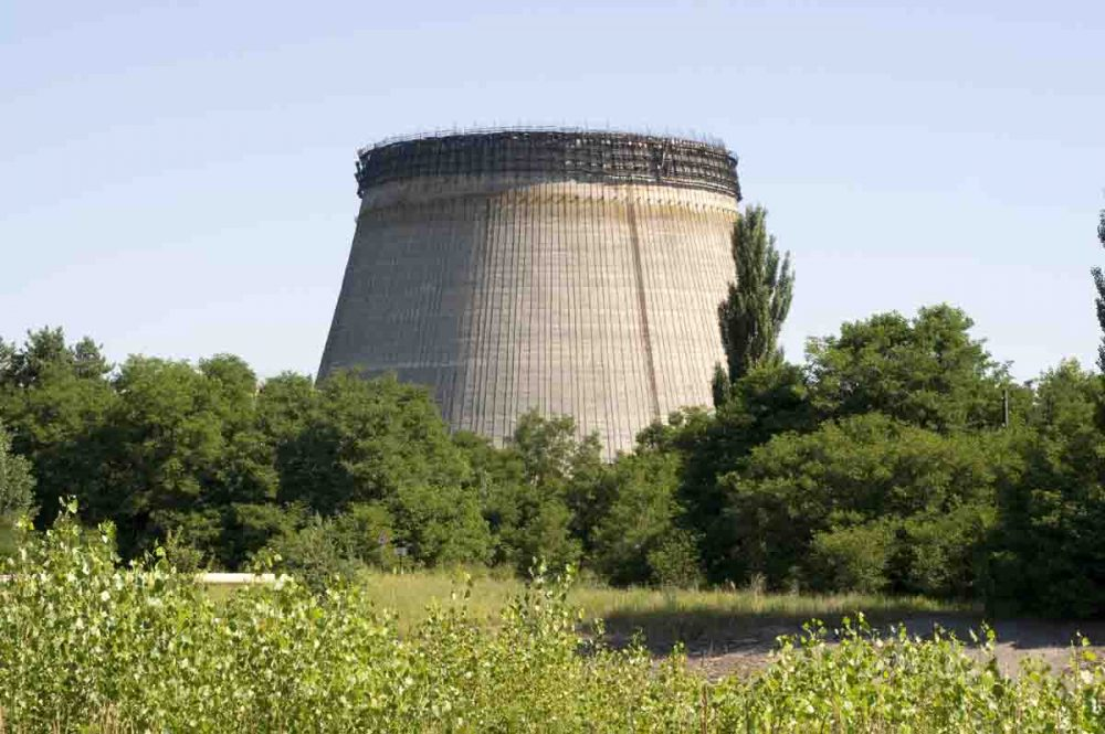 The cooling tower for an unfinished reactor at the Chernobyl Nuclear Power Plant. (Rory Carnegie)