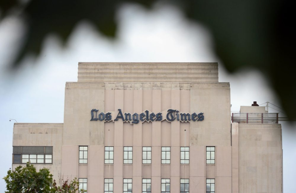 The Los Angeles Times Building in downtown Los Angeles, California on July 10, 2013.(Frederic J. Brown/AFP/Getty Images)