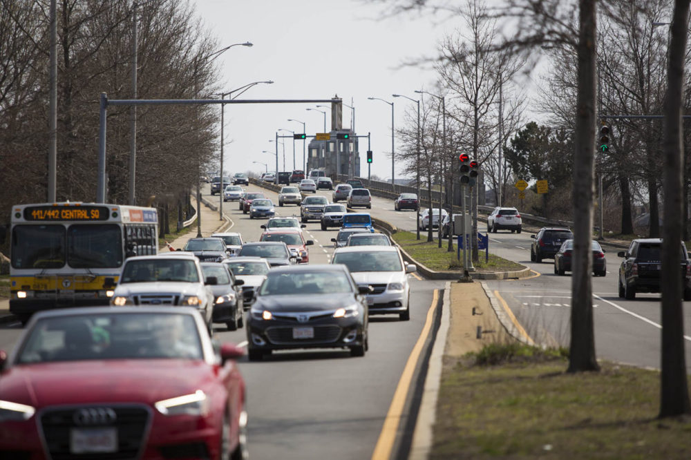 State Sen. Tom McGee, chair of the Joint Committee on Transportation, drives from his home in Lynn to the State House. Here, northbound traffic on the Lynnway comes off the Point of Pines Bridge in Lynn. (Jesse Costa/WBUR)