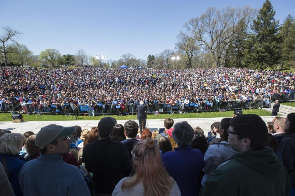 Democratic presidential candidate U.S. Sen. Bernie Sanders (D-VT) speaks during his rally at Roger Williams Park on April 24, 2016 in Providence, Rhode Island. The Rhode Island primary will be held on Tuesday, April 26. (Scott Eisen/Getty Images)