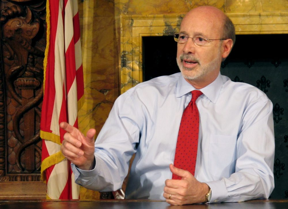 Pennsylvania Gov. Tom Wolf discusses his diagnosis of what he called treatable prostate cancer with members of the media in his Capitol offices, Wednesday, Feb. 24, 2016, in Harrisburg, Pa. He said he has a planned treatment schedule that will last several months and that he doesn't anticipate it impairing his ability to serve as governor. (Marc Levy/AP)