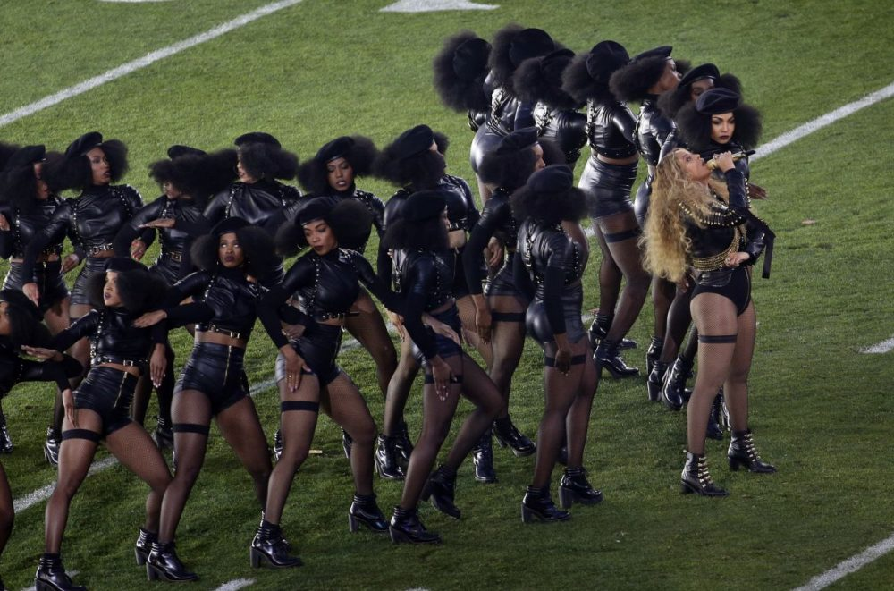 Beyoncé performs during halftime of the NFL Super Bowl 50 football game February 2016. (Charlie Riedel/AP)