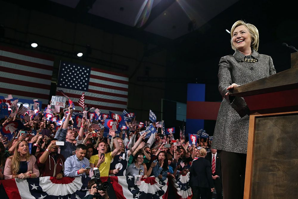 Democratic presidential candidate Hillary Clinton speaks during her primary night gathering at the Philadelphia Convention Center on April 26, 2016 in Philadelphia, Pennsylvania.  (Justin Sullivan/Getty Images)