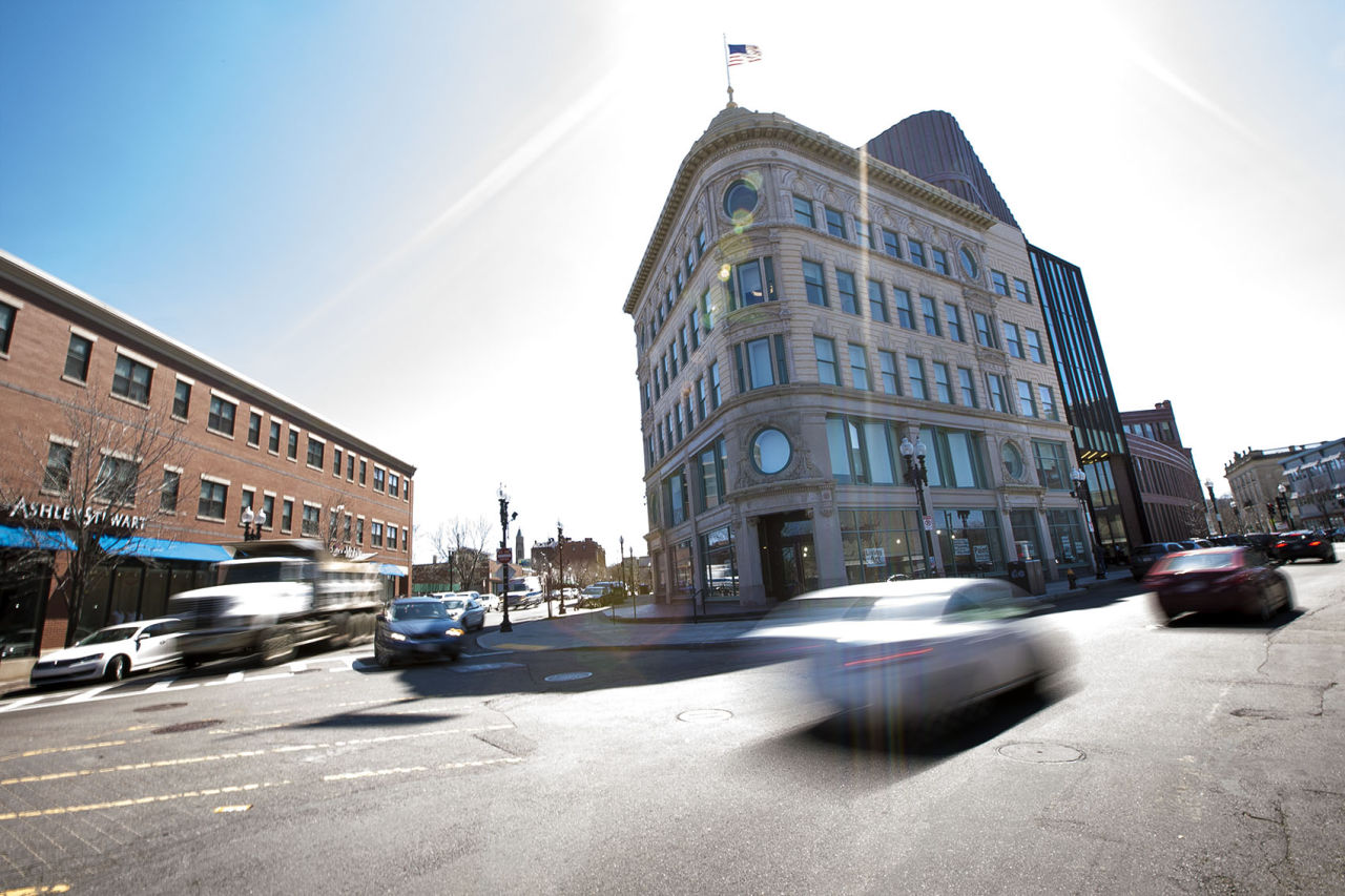 Mid-day traffic moving through Dudley Sq in Boston. (Jesse Costa/WBUR)