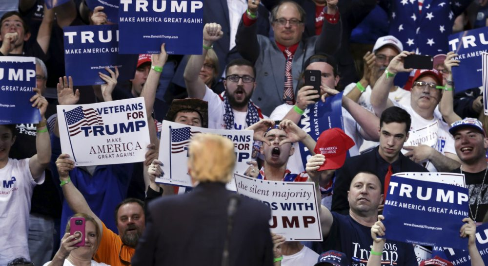Supporters cheer as Republican presidential candidate, Donald Trump speaks at a campaign rally Monday, April 25, 2016, in Wilkes-Barre, Pa. (Mel Evans/AP)