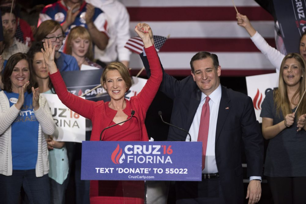 Republican presidential candidate Sen. Ted Cruz (R-TX) holds up hands with former Hewlett-Packard chief executive Carly Fiorina, at a campaign rally in the Pavilion at the Pan Am Plaza on April 27, 2016 in Indianapolis, Indiana. Cruz named Carly Fiorina as his pick for Vice President running mate during the rally. (Ty Wright/Getty Images)