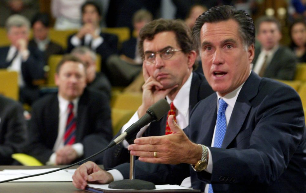 Former Mass. Governor Mitt Romney testifying at the State House in 2005, on his vision of privately provided health insurance for all residents(Bizuayehu Tesfaye/AP)