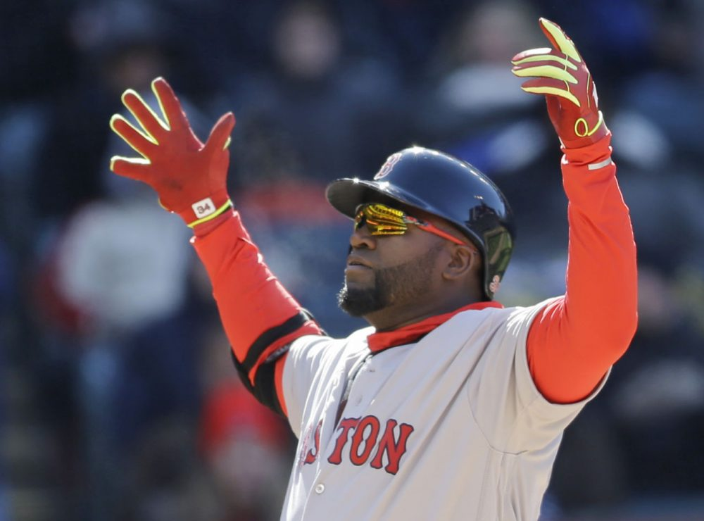 David Ortiz reacts after hitting a two-run home run off Cleveland Indians relief pitcher Trevor Bauer in the ninth inning Tuesday's opening day game in Cleveland. (Tony Dejak/AP)