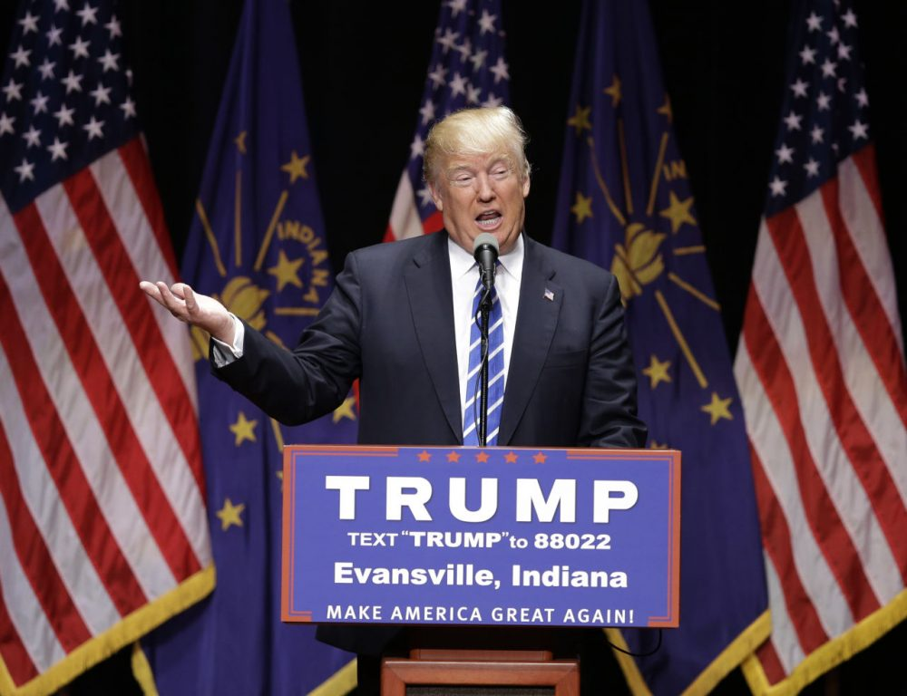 Republican presidential candidate Donald Trump speaks during a campaign stop in Indiana Thursday. (Darron Cummings/AP)