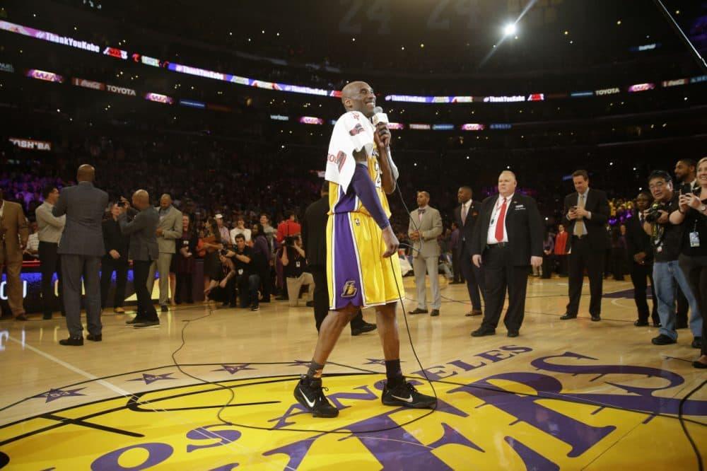 Kobe Bryant speaks to fans following his final game, marking the end to his long, strange retirement tour. (Jae C. Hong/AP)