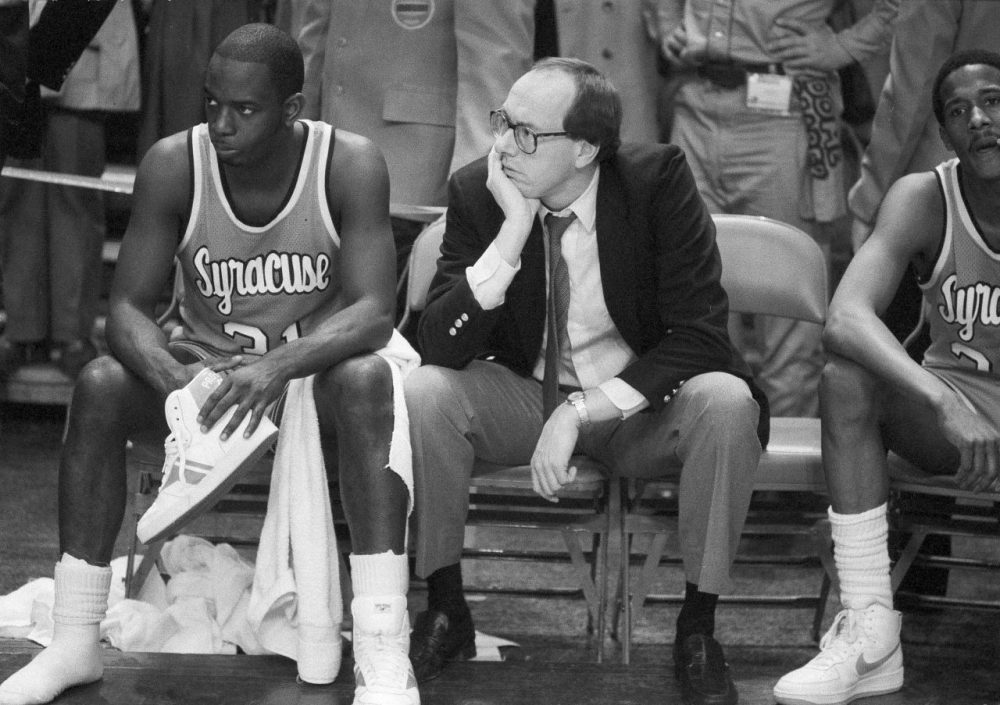 """Former Syracuse basketball star Pearl Washington (left) passed away this week at the age of 52. Charlie remembers him as a legend from """"the days when legends didn't have logos."""" (Ray Stubblebine/AP)"""