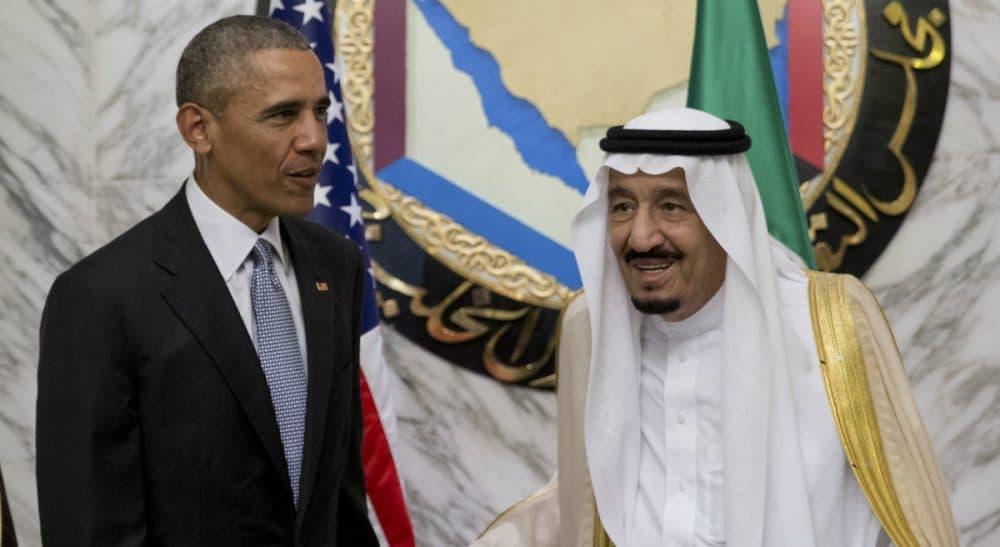 President Barack Obama and Saudi Arabia's King Salman stand together at the Diriyah Palace during the Gulf Cooperation Council Summit in Riyadh, Saudi Arabia, Thursday, April 21, 2016. (Carolyn Kaster/AP)